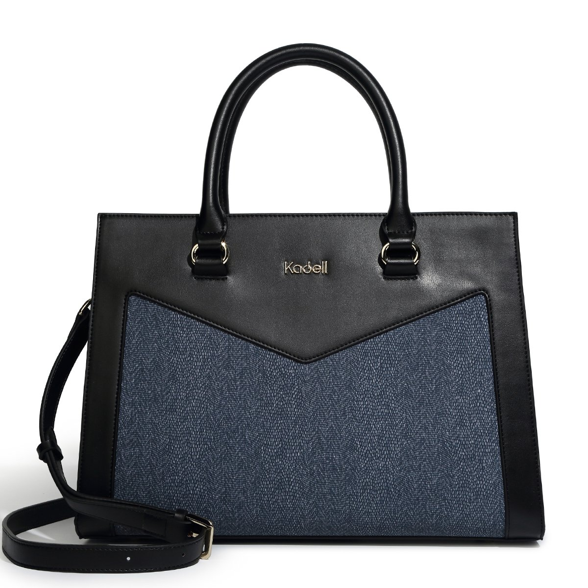 Kadell New Women Handbags PU Leather Shoulder Totes Purse Messenger Bags With Removable Strape Black