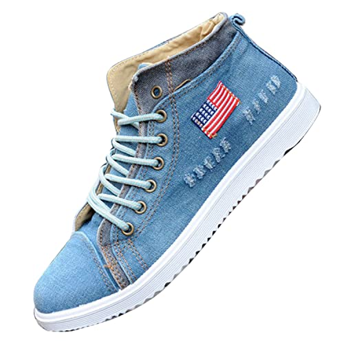 c56955b59e43 Gaorui Fashion Men s Canvas Shoes High Top Lace Up Sneakers Casual Students  Sport Flats Blue