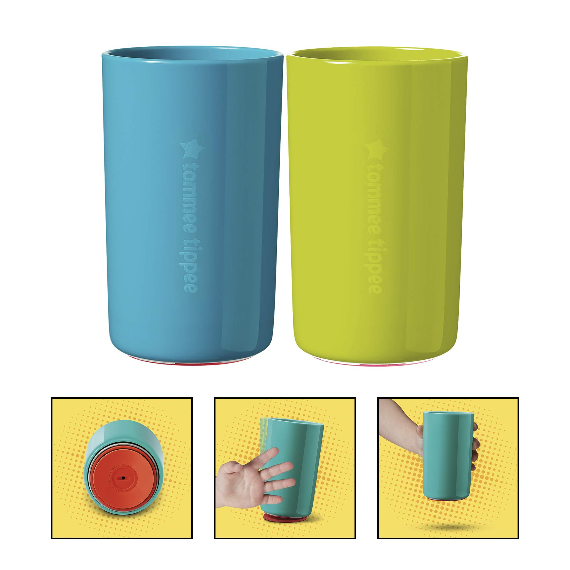 Tommee Tippee No Knock Transition Toddler Cup with Clevergrip base, Teal & Green, 18+ Months by Tommee Tippee
