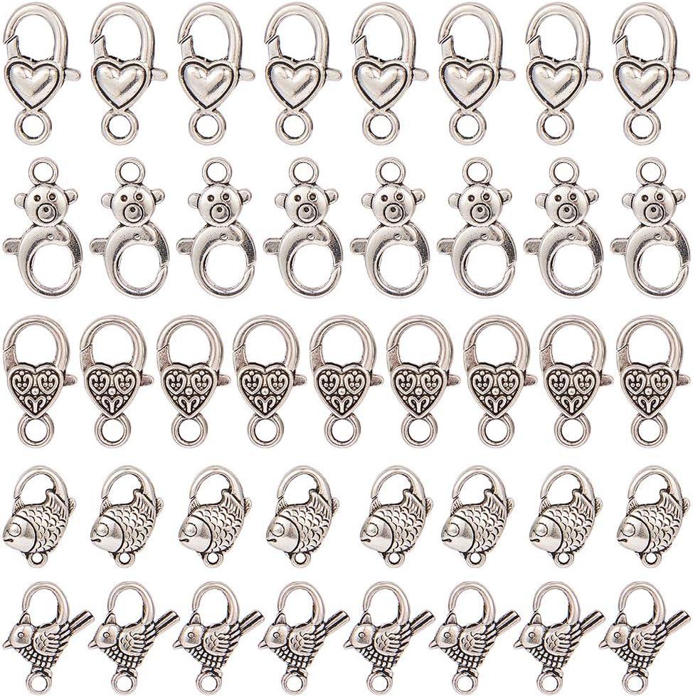 Argent Antique SUNNYCLUE 1 Box 40pcs Kit DAccessoires pour Bijoux Fermoir Pince de Homard pour Colliers et Bracelets Fermoirs /à Homard en Forme de Coeur