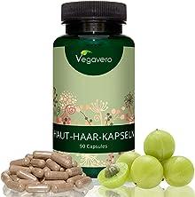 Haut-Haare-Nägel-Complex Vegavero   LABORGEPRÜFT   90 Kapseln   Pflanzenextrakte, Biotin, B-Vitamine & Silizium   Vegan und OHNE Zusatstoffe   volles Haar-glatte Haut-feste Nägel