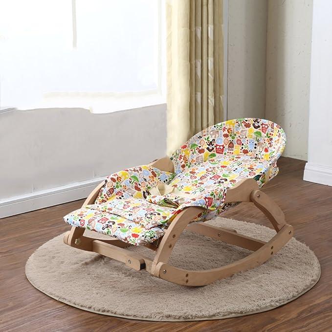 Amazon.com: Mecedora de madera para bebé, portátil, plegable ...