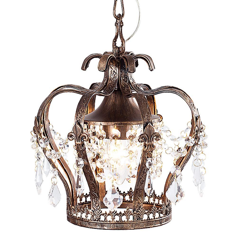 ペンダントライト 王冠 ティアラ 天井照明 LED対応 レトロ (アンティークブラウン) B07MYSTN5B アンティークブラウン