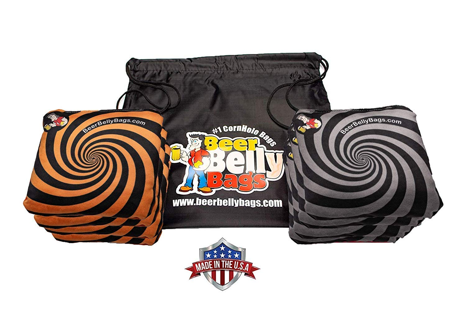 Beer Belly Bags Cornhole - Performance Series 8 Bags ACL Approved Resin Filled - Double Sided - Sticky Side | Slick Side (Orange/Black) by Beer Belly Bags