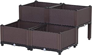 Outsunny Set of 4 Plastic Raised Garden Bed Elevated Planter Box Kit Rattan Pattern with Self-Watering Design and Compact Footprint, Perfect for Flowers Vegetables and Herb