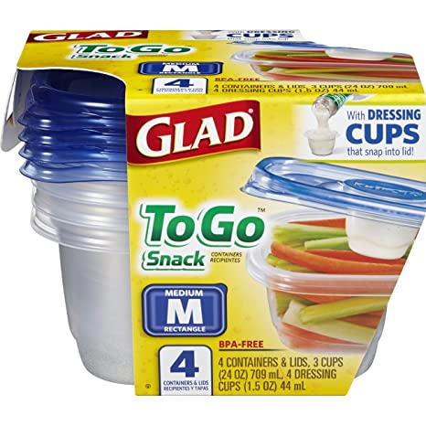 Amazon.com: Glad Food Storage Containers - To Go Snack Container - 24 Ounce - 4 Containers: Health & Personal Care