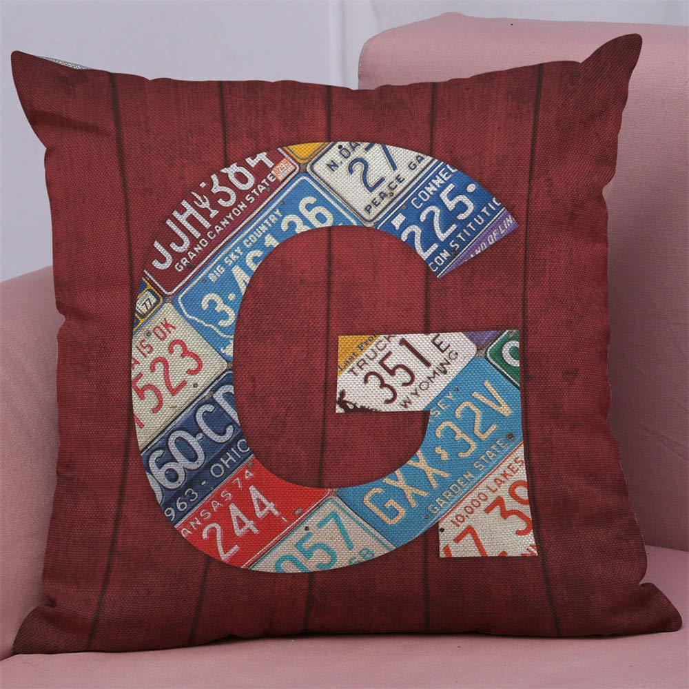 Watopi License Plate Vintage Decor Cushion Cover,English Letter Alphabet Throw Pillow Covers,Car Tag,Alphabet A-Z,Case Cafe Home Sofa D/écor,45 45cm 1 PC