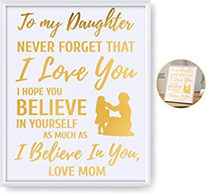 Inspirational Quotes Never Forget That I Love You - 8x10 Inch Gold Foil Art Print with Frame - Black Girl Magic Birthday Christmas Gifts for Daughters Room Decor Wall Art
