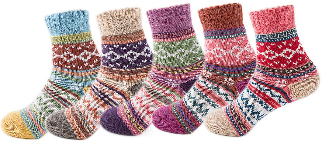 Yuhan Pretty 5 Pairs Womens Winter Warm Thick Knit Wool Cozy Vintage Crew Socks (5 PCS, Style 4)