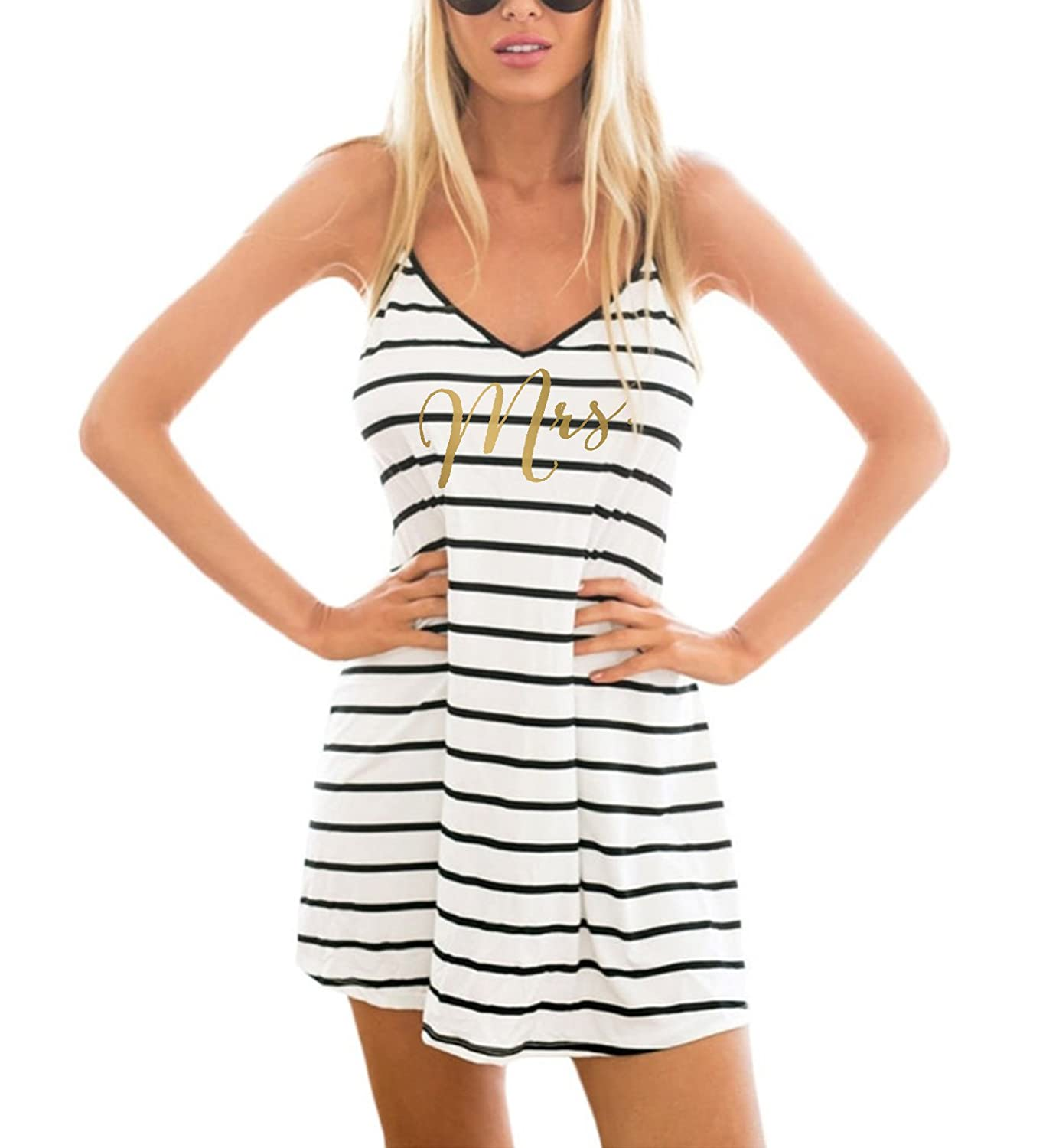 8061b1f73e It's Your Day Clothing Gold Mrs. Striped Swimsuit Cover Up Honeymoon Bride  Beach Dress at Amazon Women's Clothing store: