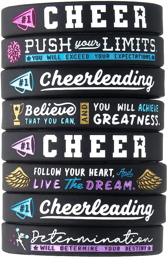 (12-Pack) Cheerleading Inspirational Bracelets - Wholesale Pack of 12 Silicone Rubber Wristbands - Cheerleading Team Gifts in Bulk, Cheer Squad Party Favors for Girls Women Cheerleaders