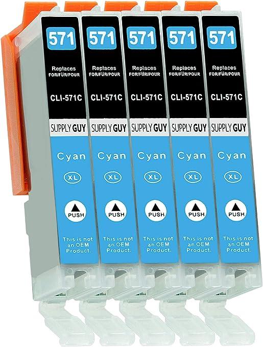 Imagen de5 Cartuchos de Tinta con viruta Compatible con Canon CLI-571 Cian para Pixma MG-5750 MG-5751 MG-6850 MG-7750 TS-5050 TS-5055 TS-6050 TS-8050 TS-9050 TS-9055 y más (Ver página del Producto)