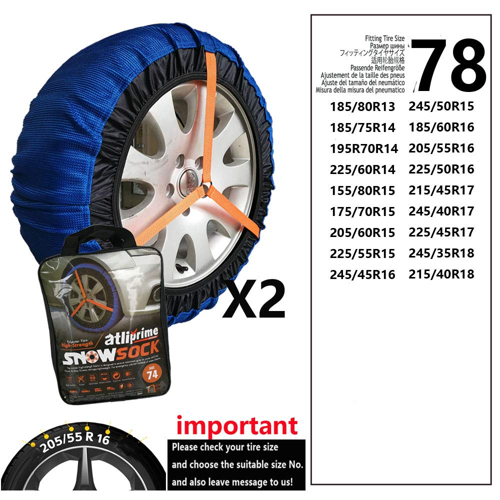 atliprime 2pcs Anti-Skid Safety Ice Mud Tires Snow Chains Auto Snow Chains Fabric Tire Chains Auto Snow Sock on Ice and Snowy Road (AT-SB78) by atliprime