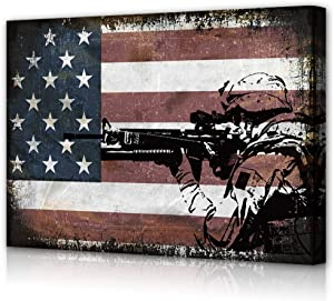 Military Wall Decor, Army Rangers Canvas Art,Patriotic Print, US Flag Artwork, Soldiers Poster,Navy Seals Artwork for Living Room Bedroom Office Kitchen, USA Marines Old Glory, Vintage Home Decal Gift