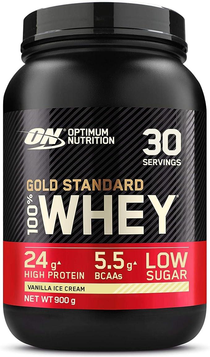 Optimum Nutrition Gold Standard 100% Whey Proteína en Polvo, Glutamina y Aminoácidos Naturales, BCAA, Helado de Vainilla, 30 Porciones, 900g, Embalaje ...