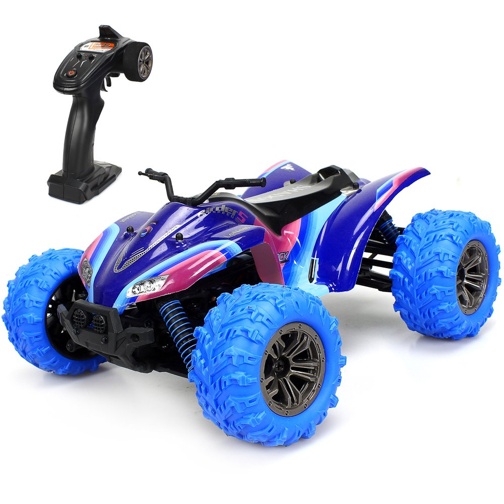 2d346e16a Amazon.com  GPTOYS RC Cars 1 16 Scale 2.4GHz 4WD Off Road Remote Control  Car Vehicle with High Speed ATV of 36 killometer h (Purple)  Toys   Games