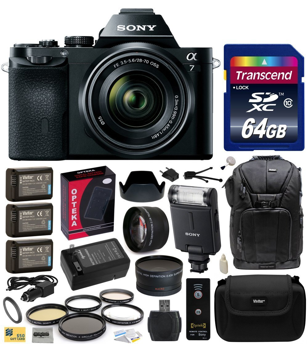 Sony a7K A7 Full-Frame DSLR 24.3 MP Interchangeable Digital Lens Camera with FE 28-70mm f/3.5-5.6 OSS Lens with Advanced Accessories Bundle Kit includes Sony HVL-F20M External Flash + 64GB Class 10 SDHC Memory Card + x3 Replacement (1200mAh) NP-FW50 Batte
