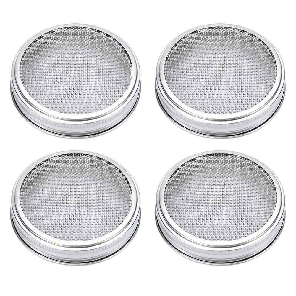 DragonflyDreams 4 Pack Stainless Steel Sprouting Lids Stainless Steel Superb Sprouting Jar Strainer Lid for Wide Mouth Mason Jars for Making Organic Sprout Seeds Kitchen Supplies