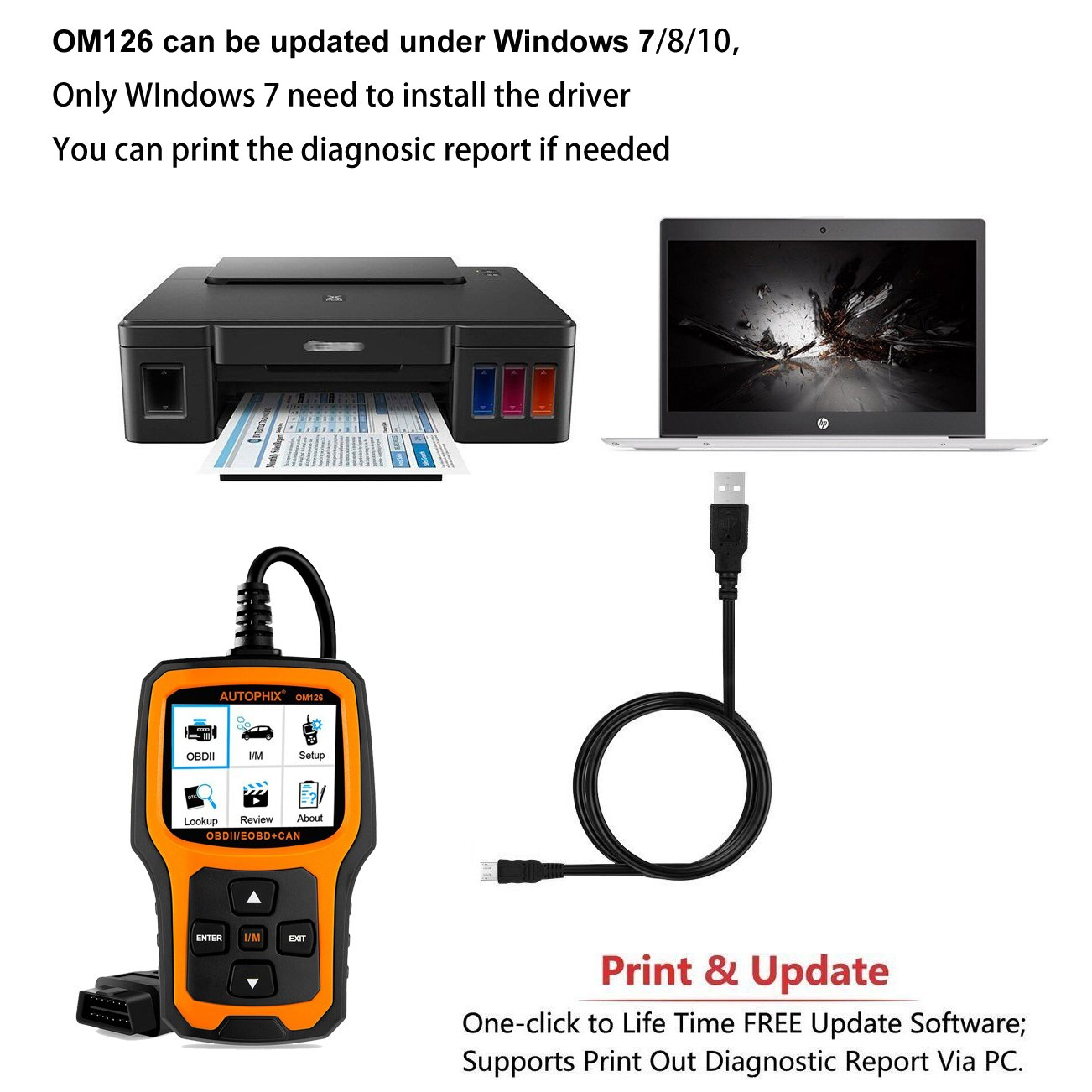 AUTOPHIX OM126 ensures free software upgrades for a lifetime.