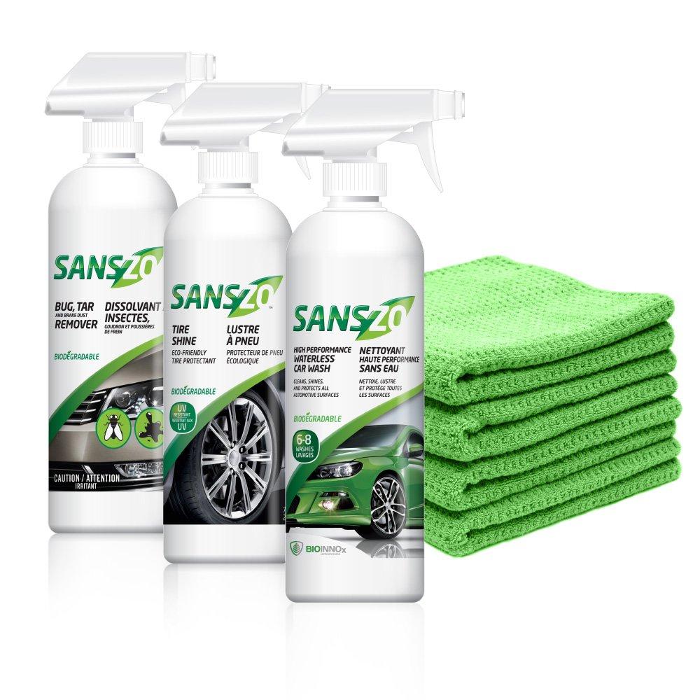 SansZo Waterless Car Care Kit 72 oz. - #1 on the market since 9 years - Aircraft Car RV Tesla & Boat.