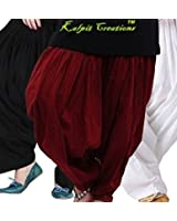 kalpit creations Women's Cotton Patiala Salwar Combo (Black, Maroon and White Free Size)