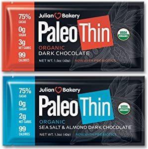 Julian Bakery Paleo Thin® Keto Dark Chocolate Bars (Variety Box) (USDA Organic) (99 Calories : 2 Net Carbs : Gluten-Free : Soy-Free) (12 Bars)