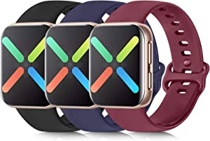 [3 Pack] Silicone Bands Compatible with Apple Watch Bands 38mm 40mm 42mm 44mm, Soft Wristbands Compatible with iWatch Bands (Black/Navy Blue/Wine Red, 38mm/40mm-S/M)