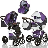 LCP Kids Poussette combinee 3en1 LUCATO eco cuir pour bebe et enfant 0-36 moins pliable avec module canne et siege auto groupe 0+ du 0 a 13 kg - purple violet