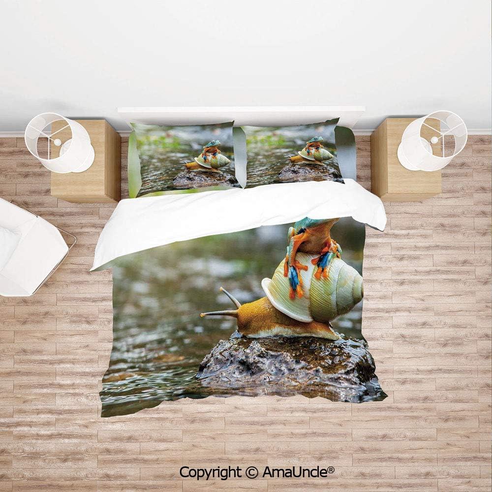 SCOCICI Cute Colorful Frog Above The Snail Riverscape Water Rock Mollusks Amphibian Anim Lightweight Bedding 4 Piece Duvet Cover Set 4 Pcs Set (1 Duvet Cover, 1 Bed Sheet, 2 Pillowcases) Bedding Sets