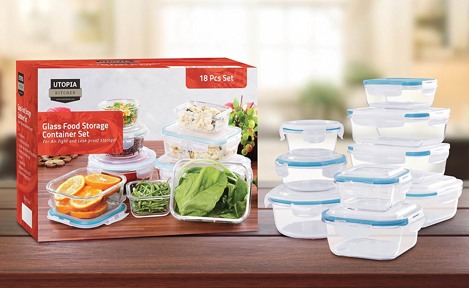 Genial Amazon.com: Utopia Kitchen Glass Food Storage Container Set   18 Pieces (9  Containers + 9 Lids) Transparent Lids   BPA Free   For Home Kitchen Or ...