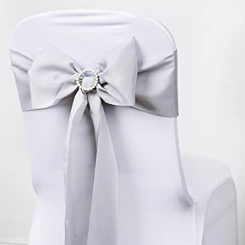 Amazon Balsacircle 10 Silver Polyester Chair Sashes Bows Ties