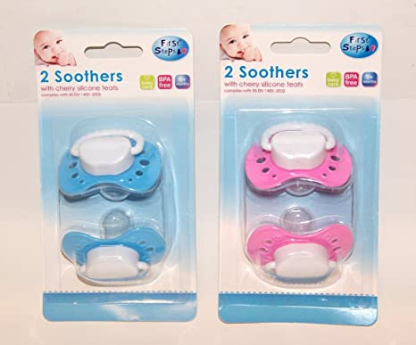 BABY DUMMIES LATEX SOOTHERS PACIFIER  2 Packs First Steps