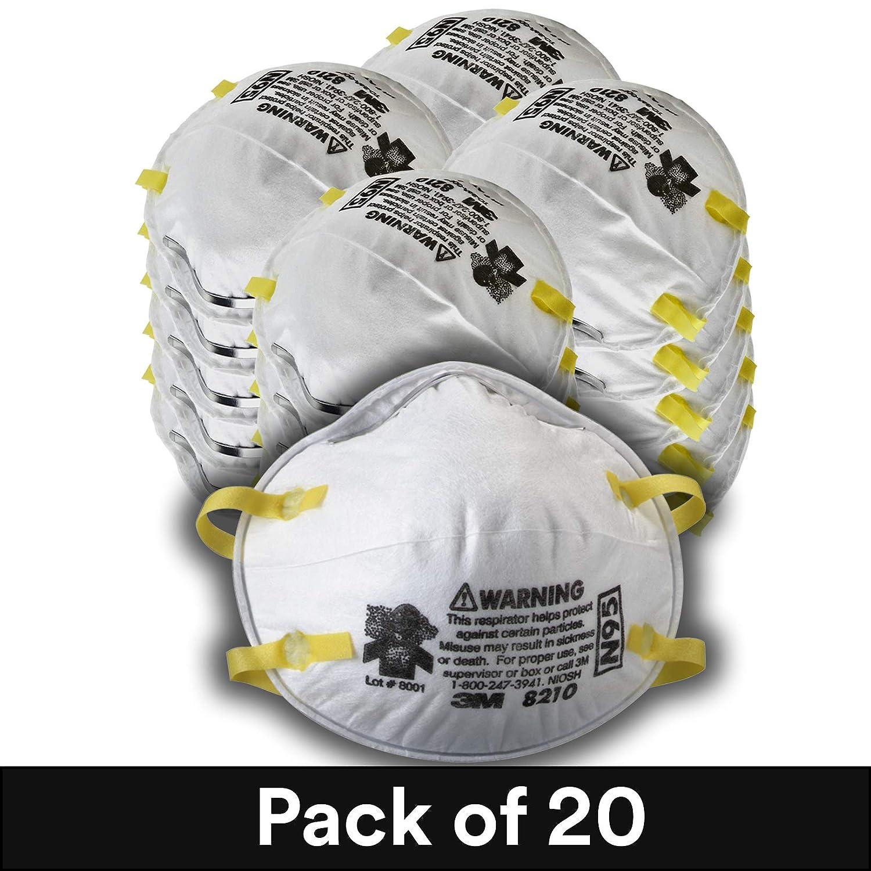 3M Particulate Respirator 8210, N95, Smoke, Dust, Grinding, Sanding, Sawing, Sweeping, 20/Pack
