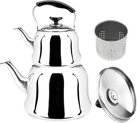 0,6 L + 1 L Edelstahl Teekocher Tee Kanne 2 Teilig Türkische Teekannen Set