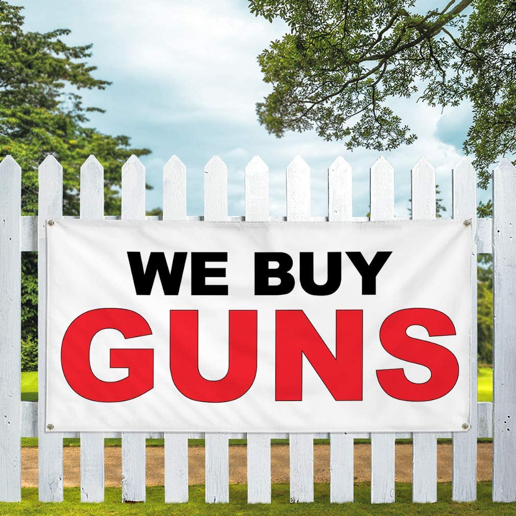 Vinyl Banner Multiple Sizes We Buy Guns Black Red A Business Outdoor Weatherproof Industrial Yard Signs 4 Grommets 24x48Inches