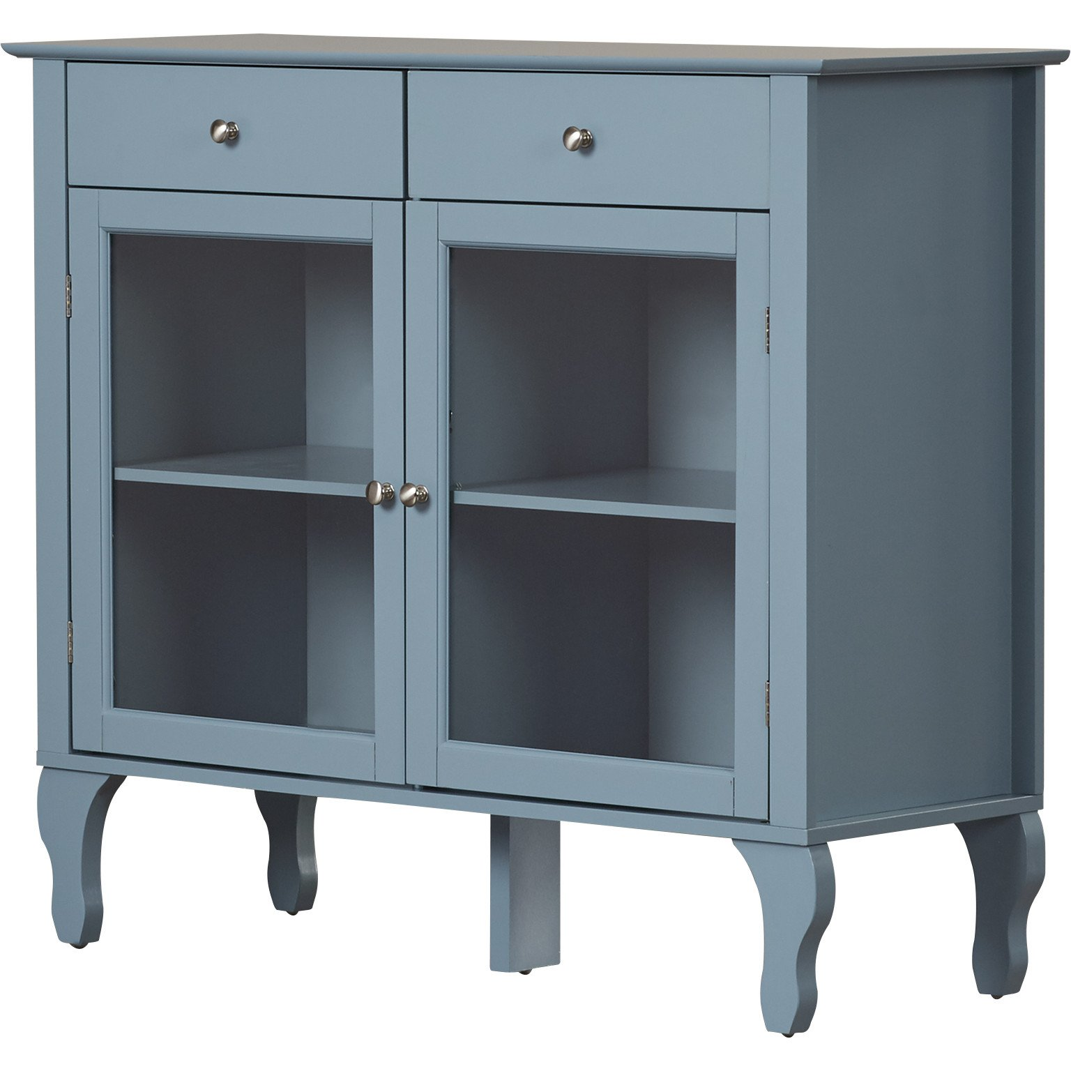 Kenya Sideboard/Buffet in Antique Blue Finish with 2 Drawers and 2 Glass Door Cabinets Storage 36'' H x 42'' W x 15'' D