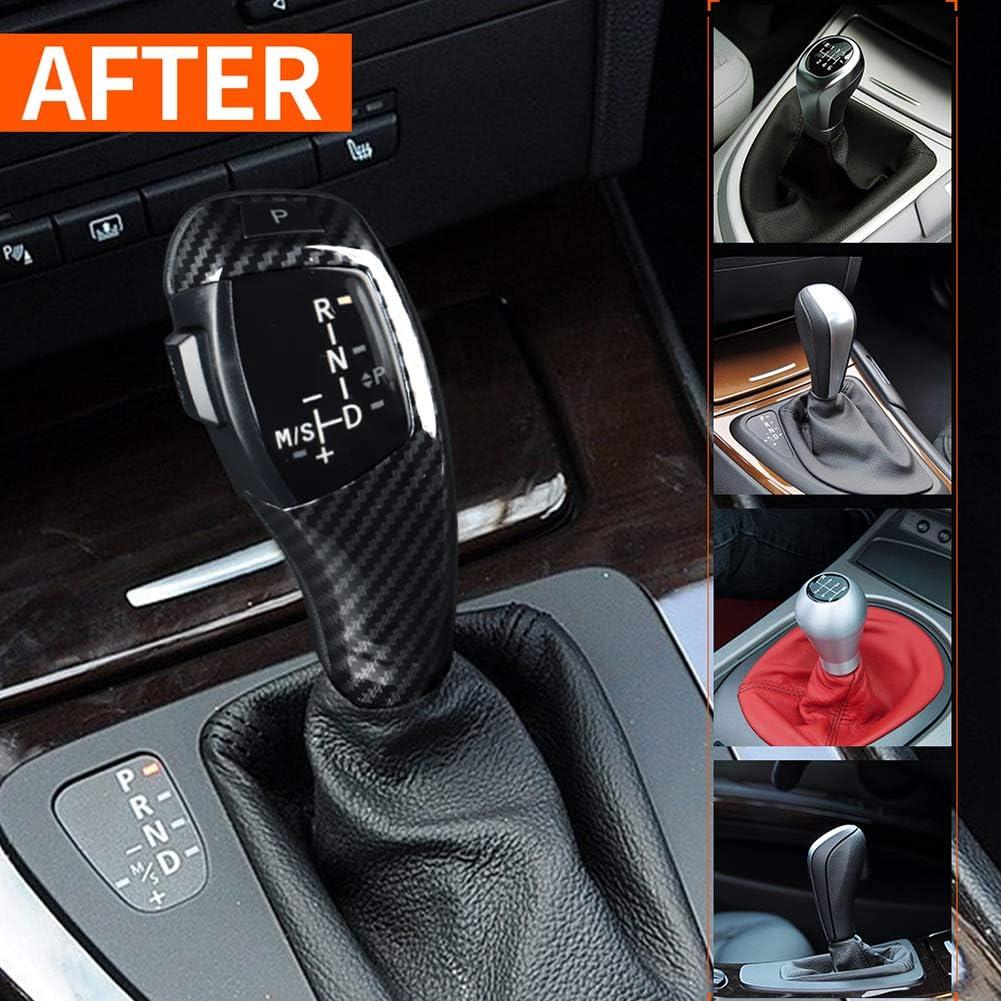 Akozon Schaltknauf Elektrische Linkslenker Automatische Led Kopfschaltung Nachrüstsatz Passend Für E46 E60 E61 Refit Für F30 Style Kohlefaser Textur Auto
