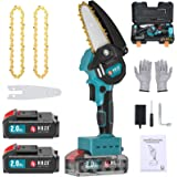 HOZE Mini Chainsaw,Lithium-Ion Cordless 4-Inch Chain Saw Kit, Handheld Protable Electric Chainsaw with 2Ah Battery operated,P