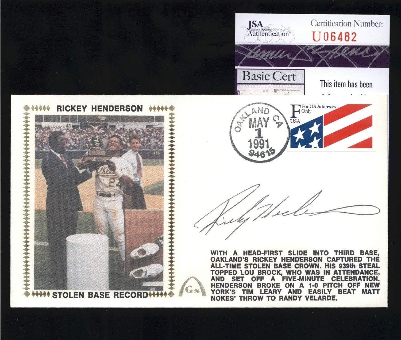 Rickey Henderson A'S Hof Autographed Signed Stolen Base Record Cachet Fdc Cover JSA Coa