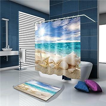 Mold Resistant Starfish Seashell Shower Curtain Beach Ocean Themed  Polyester Fabric Blue Sky Sunshine Bathroom Decor