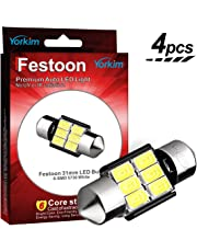 Yorkim 31mm Festoon LED Bulbs White Super Bright LED Interior Car Lights Error Free CANBUS 6