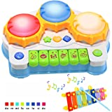 Baby Toy Piano Music Keyboard Birthday Gift, AMENON Hand Drum Toy with Flash Lights for Toddler Kids Early Educational Learning