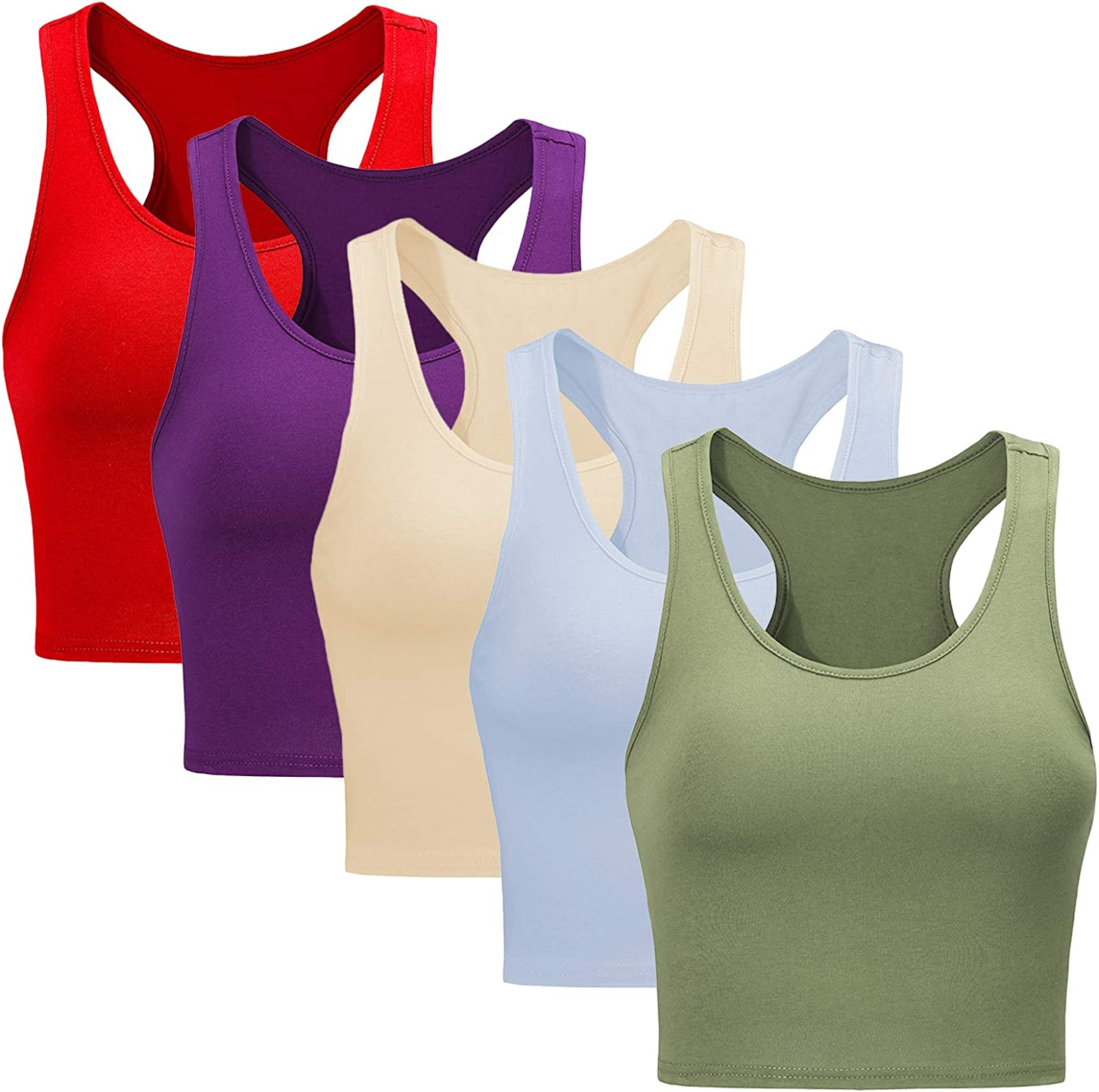 Star Vibe Basic Sports Crop Tank Tops for Women Cropped Racerback Tanks Workout Exercise Yoga Tops 5 Pieces