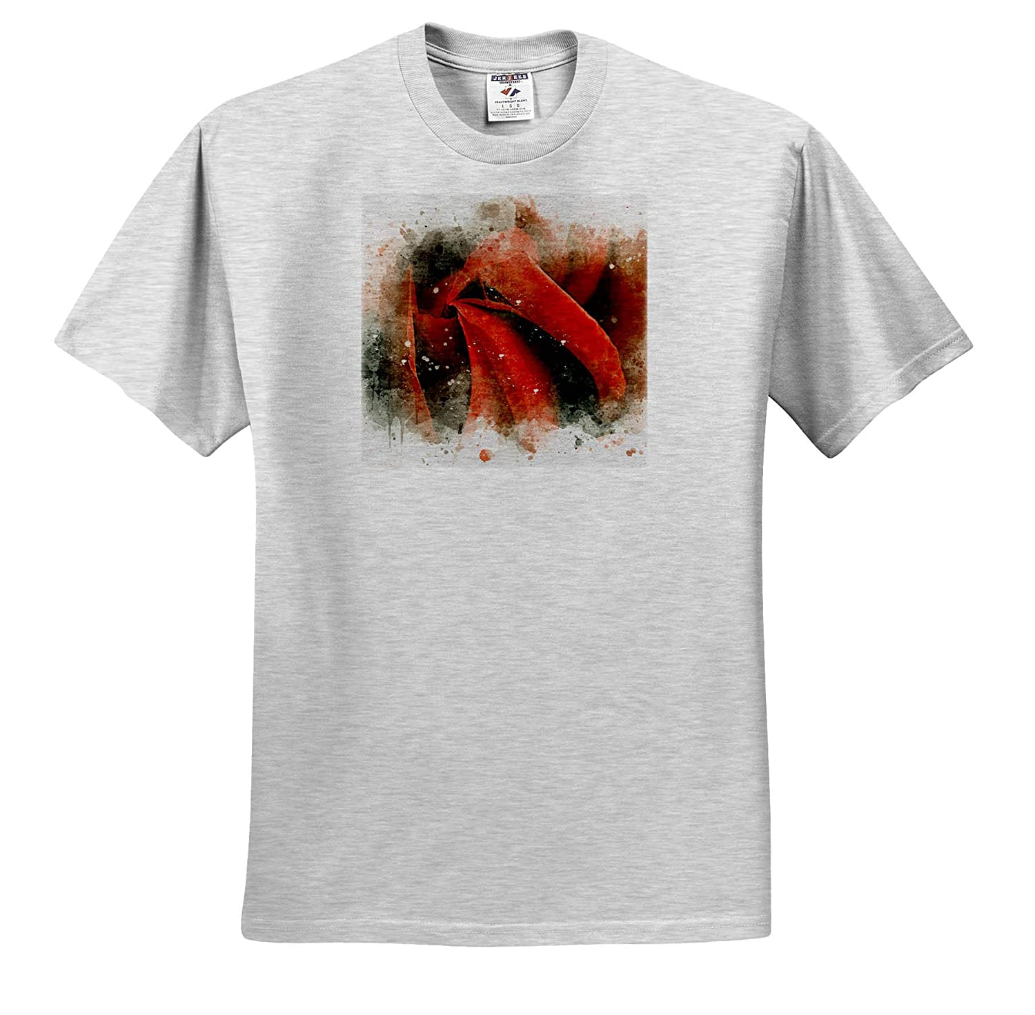 3dRose Anne Marie Baugh Image of Watercolor Red Rose Art ts/_318659 Adult T-Shirt XL Impressionist Mixed Media Art