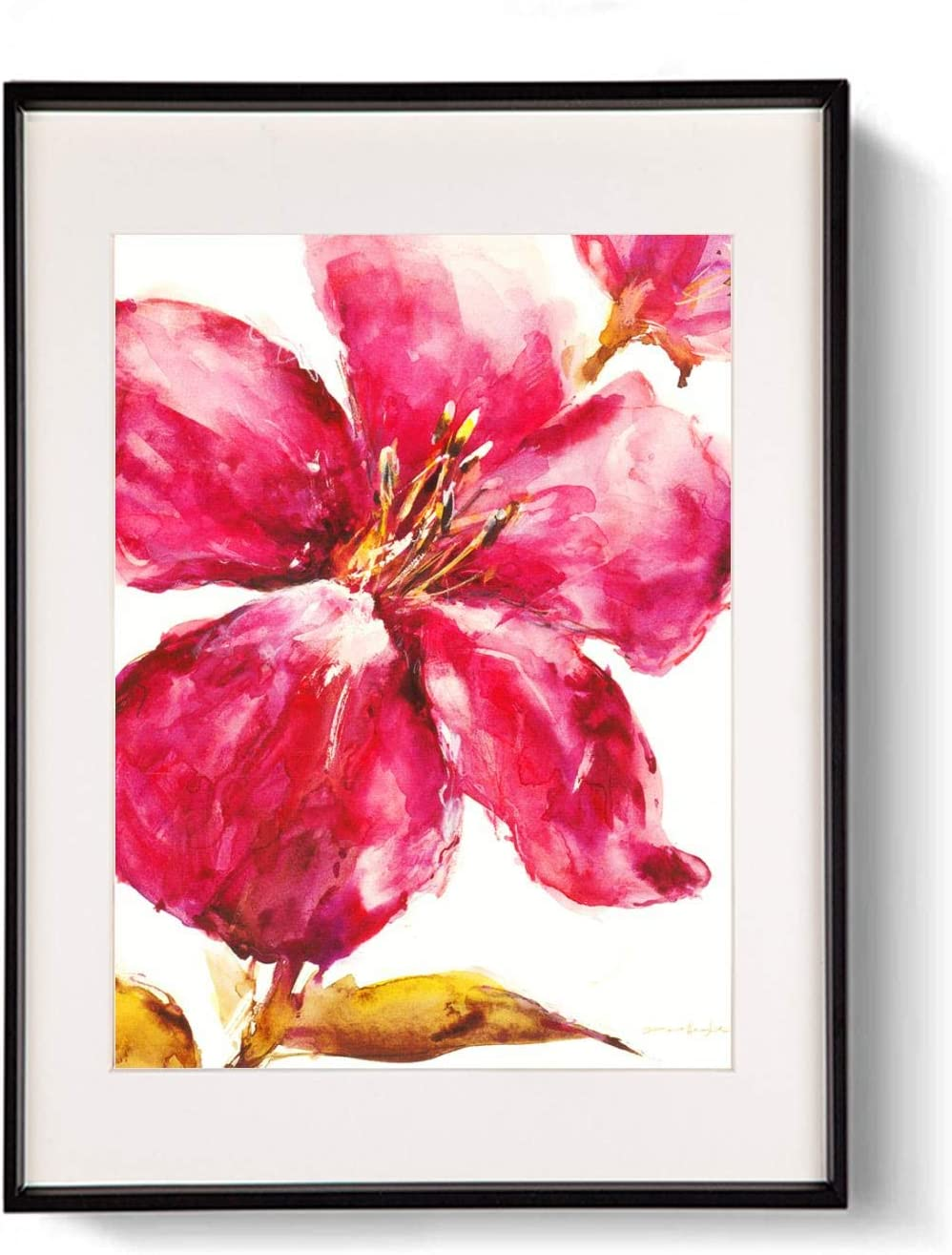 QEQWRTUI Modern Canvas Paintings Red Lily Paintings Modern Home Decor Wall Art Painting Colorful Wood Inside Framed Ready to Hang