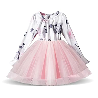 80807827386b0 NNJXD La Robe d école décontractée en Coton à Manches Longues pour des Enfants  Rose