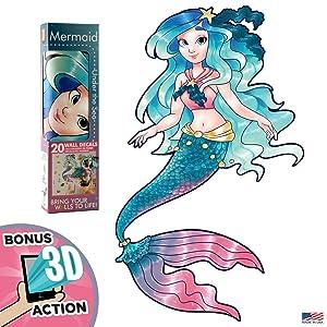 Mermaid Under The Sea Augmented Reality Mermaid Wall Decal Peel & Stick Removable Vinyl Mermaid Stickers Mermaid Wall Decor - Mermaid Decor for Girls Room