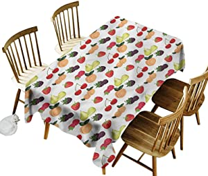 Fruit Oblong Tablecloth Delicious Fresh Tropical Food Printed Tablecloth 54 x 72 Inch