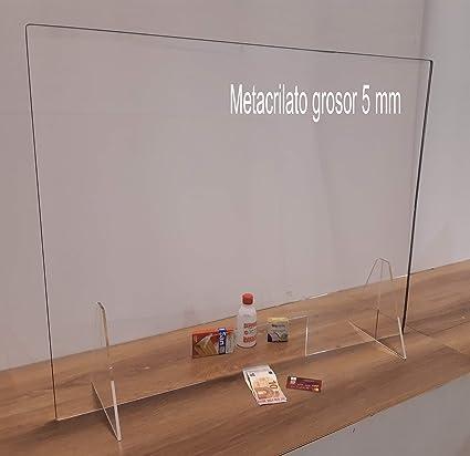 Protector mostrador metacrilato 5mm farmacia tienda 100 x 65 cm - Mampara protectora - Paraban protector - Pantalla protección comercios, hoteles, supermercados (100 x 65 cm): Amazon.es: Oficina y papelería