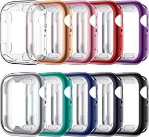 VASG [10 Pack] Screen Protector Case Compatible with Apple Watch Series 6 / SE/Series 5 / Series 4 44mm, Ultra-Thin Soft TPU Plated Bumper Full Cover Protective Cases Compatible with iWatch 44mm